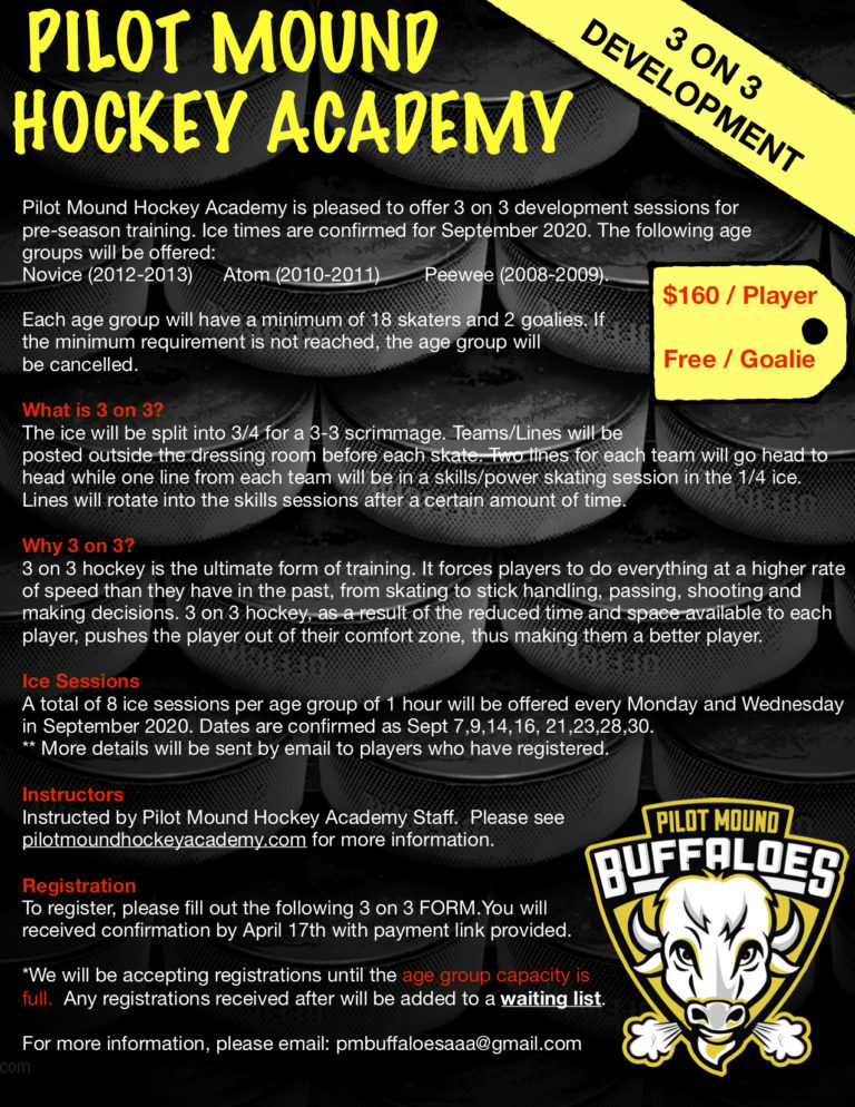 Pilot Mound Hockey Academy to Host 3 on 3 Development