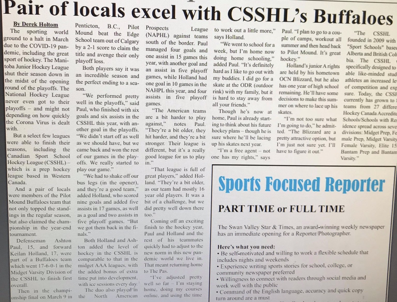 Pair of Locals Excel with CSSHL's Buffaloes – Opasquia Times
