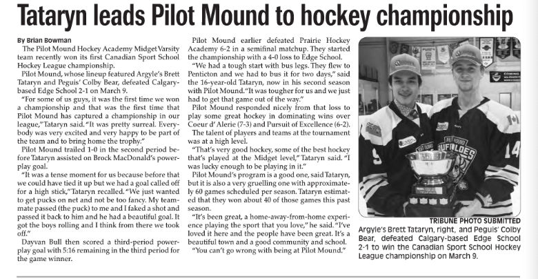 """Tataryn Leads Pilot Mound to Hockey Championship"" – Stonewall Teulon Tribune"